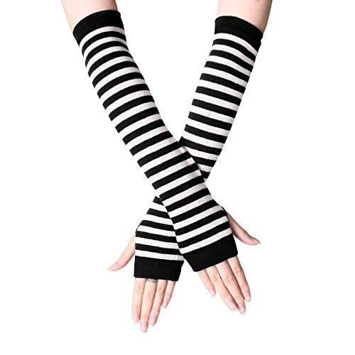 Heflashor Gestrickte Fingerlose Handschuhe Damen Armstulpen Feinstrick lang Handwärmer Stulpen Winterhandschuhe Pluswärmer Handstulpen Armwärmer Stulpen (Schwarz + Weiß,One Size)