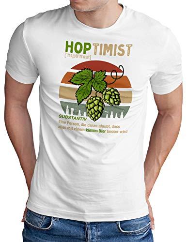 OM3® Hoptimist T-Shirt | Herren | Bierliebhaber Hopfen Bier Fun Party Retro | Weiß, S