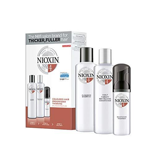 NIOXIN - Trial Kit (Champú, Acondicionador y Tratamiento) Sistema 4- CABELLO COLOREADO_DEBILITAMIENTO AVANZADO_HIDRATACION EQUILIBRADA -(300ml+300ml+100ml)