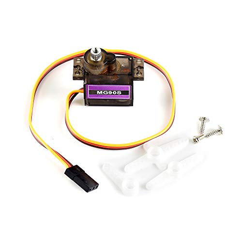 MG90S Micro Servo Motor, Metal-Geared Servo Motor, Used to Add Power to Robot, Can Rotate Approximately 180 Degrees, Torque of 2.0kg/cm(4.8V), 2.8kg/cm(6V), Speed of 0.11s/(4.8V), 0.09s/(6V).