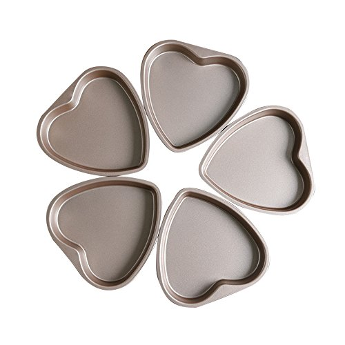 Bakerdream 5 Piece 6 inch Heart Shaped Cake Pan Set Muffin Chocolate Mold Non-Stick Heart Baking Pans (Loving Heart)