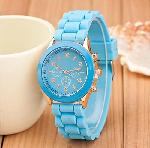 Relojes Moda Casual Ladies White Silicone Geneva Reloj De Cuarzo Ladies Sport Digital Watch Azul