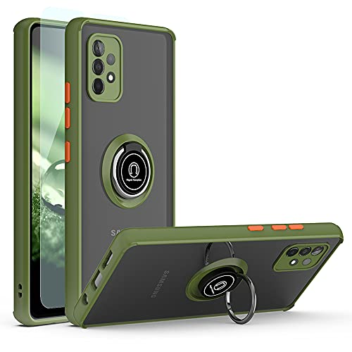 TJS Phone Case Compatible with Samsung Galaxy A32 5G, with [Tempered Glass Screen Protector] Resistant Metal Ring Magnetic Support Kickstand Heavy Duty Drop Protector Cover (Green)