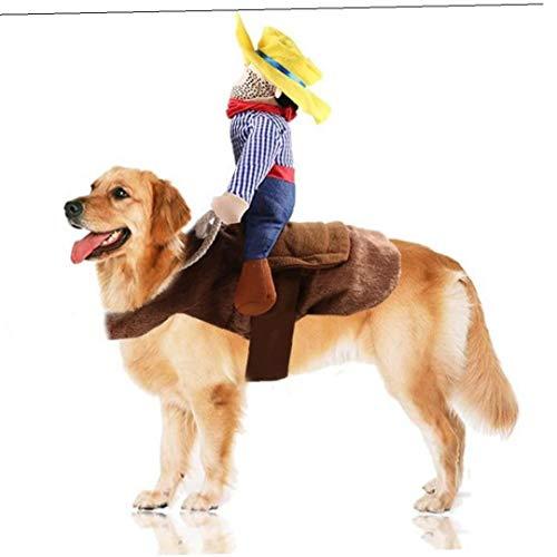 LAVALINK Costumi del Gatto dell'animale Domestico Cowboy Rider Cane Costume Cani Vestiti Cosplay Prodotto Cavaliere di Stile con Il Cappello Divertente del Gatto del Vestito Copre
