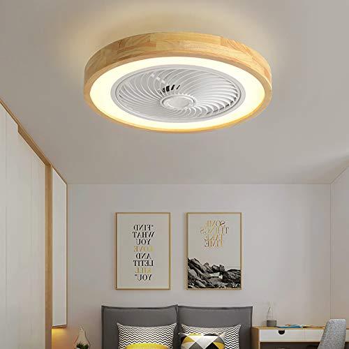YUNZI Holz Schlafzimmer Deckenventilator Mit Licht Und Fernbedienung 3 Geschwindigkeiten Dimmbar LED Deckenventilator Mit Beleuchtung 72W Mit Timer Deckenventilator Mit Licht Leis