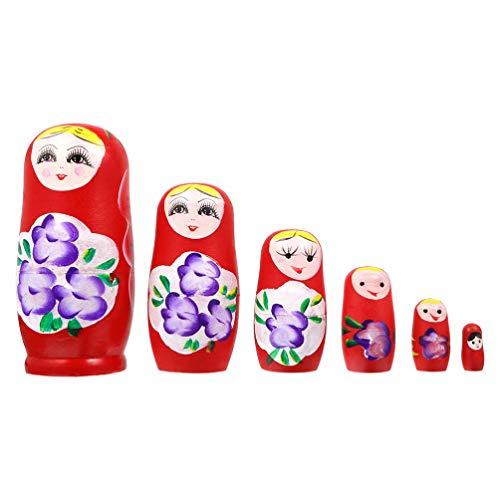 TOYANDONA Muñecas Rusas de Anidación de Madera de 6 Piezas Locura de Flores Muñeca Matryoshka Adorno Decorativo Juguetes Hechos a Mano Regalo para Niños Niños (Color Aleatorio)