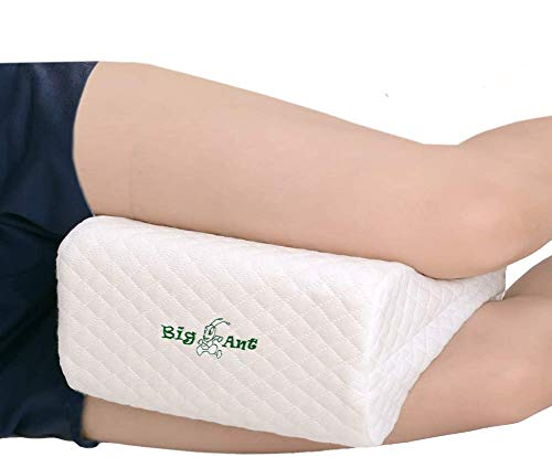 Big Ant Knee Pillow With Elastic Strap Orthopedic Memory Foam Leg Rest Pillows for Sleeping On Side / Pregnancy / Lower Leg / Back / Hip and Knee