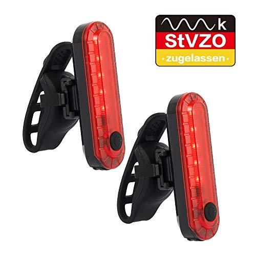 Keyohome 2X USB Fahrradlampe LED StVZO Zugelassen Fahrrad Licht Fahrradbeleuchtung Fahrad Rücklicht, LED Rückleuchte mit Zmark Reflektor Wasserdicht Fahrradlicht Hinten für Fahrrad MTB