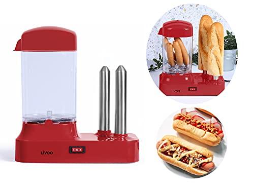 Hot Dog Maker para 6 salchichas, máquina de perritos calientes con recipiente de calor extraíble, calentador de salchichas con pinchos de acero inoxidable para calentar panecillos, 340 W