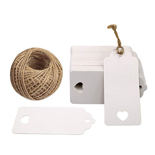 White Gift Tags, 100 PCS Kraft Paper Gift Tags Hollow Heart Wedding Favor Tags 9.5cm x 4.5cm with 100 Feet Jute Twine