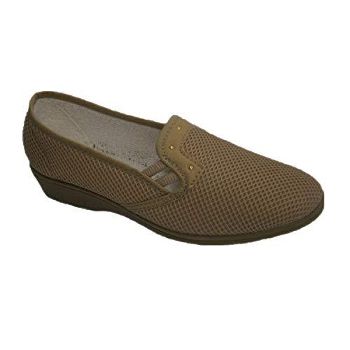 SOCA stoffen schoenenrek met halve pasveer beig