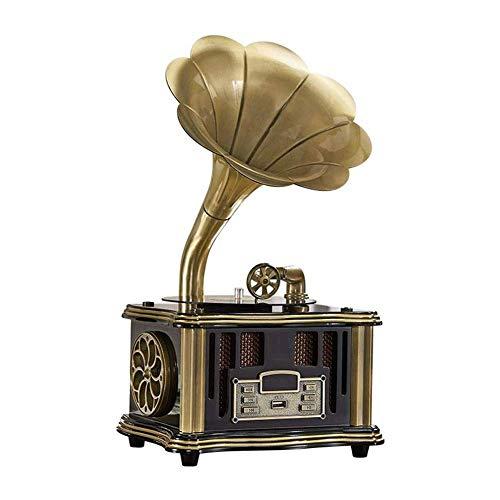 ZSMLB Altoparlante Wireless per Giradischi Hi-Fi Audio Domestico, Ingresso Aux-in, Radio FM, Porta USB per unità Flash, grammofono Stile Vintage retrò
