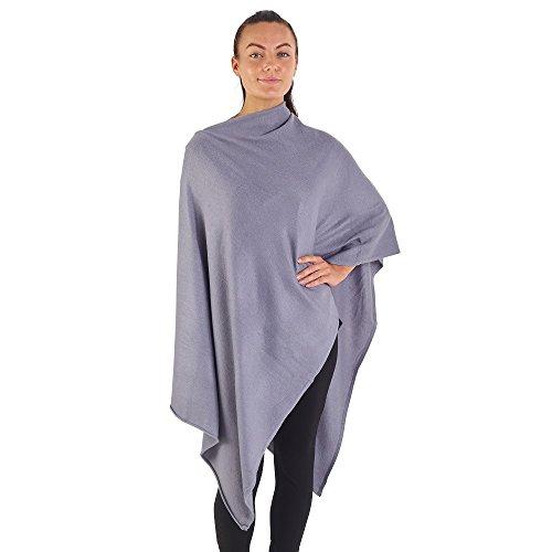 City Comfort® Soft Feel Ponchos für Frauen Ganzjährig Asymmetrischer Pullover Cape Blanket Schal Wickel Poncho - Cashmere Feel (Grautöne)