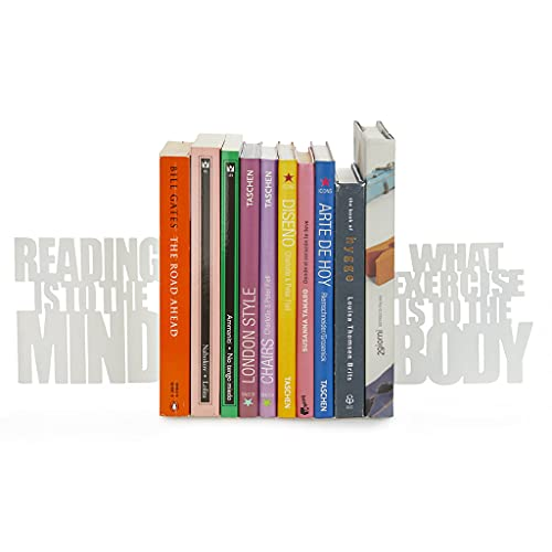 balvi Bücherstütze Mind Exercise Farbe weiß Set aus 2 dekorativen Bücherstützen Metall