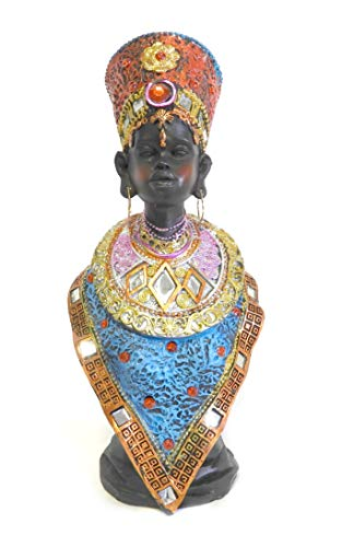 LuxuryCollection African Warrior King Tribesmen Cheif Figurine Statue Sculpture in Traditional Dress 12.5' Tall (B)