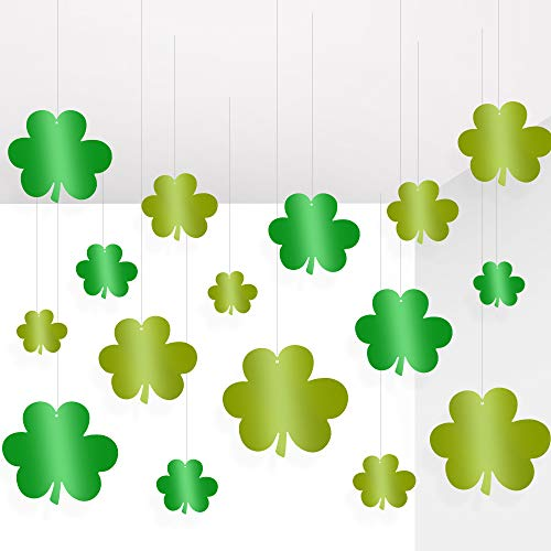 JOZON 30 Pieces St. Patrick's Day Shamrocks Hanging Decorations St. Patrick's Day Foil Green Shamrocks Decorations Home Indoor Outdoor Decor for Saint Patrick's Day Irish Lucky Day Party Supplies