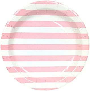 Just Artifacts Round Paper Party Plates 9-Inch (12pcs) - Baby Pink Striped - Decorative Tableware for Birthday Parties, Baby Showers, Grad Parties, Weddings, and Life Celebrations!