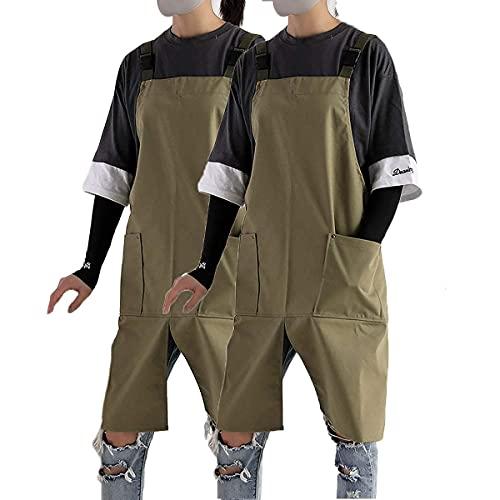 Delantales para hombre y mujer con bolsillos, ajustable, elegante, resistente al agua, a las manchas, ligero delantal de trabajo con moderno tipo H, material de algodón