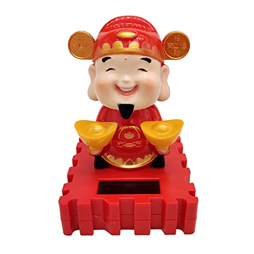simhoa Solar Powered Bobbing The God of Wealth Fortune Figure - Fun Solar Science Toy
