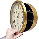 """MCM Style Wall Clock & Hidden Safe Box in One - 10"""" Gold Wall Safe Clock - Concealment Furniture with Hidden Compartments - Wall Mount Clock w/ Hidden Storage Shelf - Disguised Safe"""