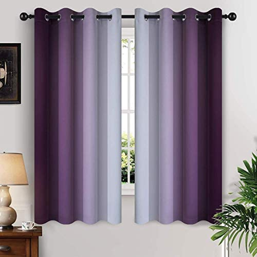 Yakamok Thermal Insulated Ombre Curtains 63 Inch Length 2 Panels Greyish White and Purple Light product image