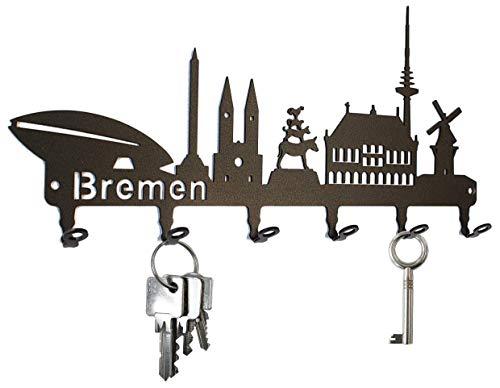 steelprint.de Schlüsselbrett/Hakenleiste * Skyline Bremen * - Schlüsselboard, Schlüsselleiste, Metall - 6 Haken