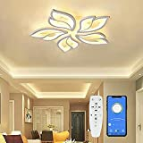 Moderne LED Deckenleuchte Dimmbar ,Wohnzimmerlampe mit Fernbedienung APP Lichtfarbe Helligkeit Farbwechsel ,Schlafzimmer Deckenlampe Deckenbeleuchtung Lampe, Kronleuchter Dimming Innenbeleuchtung