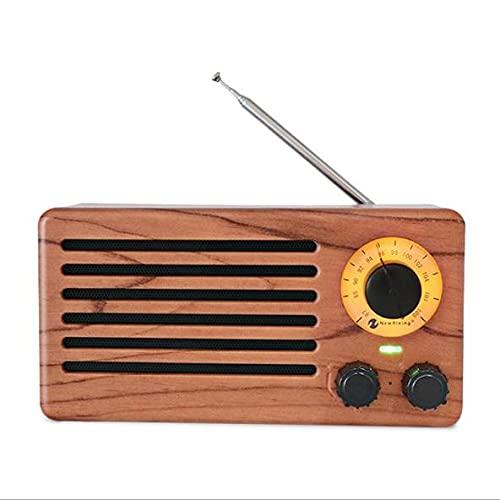 Altavoz Bluetooth inalámbrico retro de madera FM