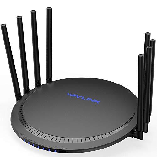 WAVLINK AC3000 Tri-Band Gigabit WLAN Router, MU-MIMO, 4 Gigabit LAN Port, Berühren Sie Link, Gast Netzwerk, 1 USB3.0 Anschluss, VPN, Unterstützt den für die Kindersicherung (533A8)