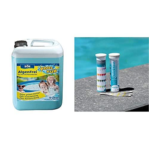 Söll 10751 AlgenFrei Pool Fun Algenmittel Reinigungsmittel flüssig 5 l - wirksamer Poolreiniger gegen Algen & BAYROL Quicktest - 50 Pool Teststreifen zur Wasseranalyse - pH Wert - freies Chlor