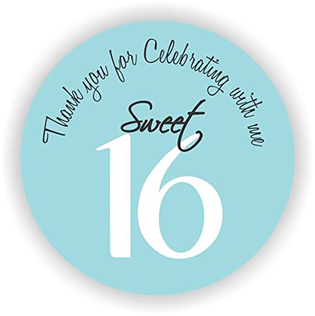 Party Favor Stickers - Sweet Sixteen Stickers - Favor Stickers - Sweet Sixteen Favor Stickers - Set of 100 Stickers (Light Blue)