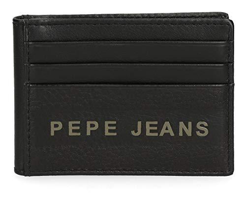 Pepe Jeans Raise Tarjetero Negro 9,5x7,5 cms Piel