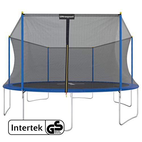 Ultrasport Uni-Jump Garden Trampoline, Children's Trampoline, Intertek GS Approved, Complete Trampoline Set Including Jumping Mat, Safety Net, Padded Net Posts and Edge Cover, Diameter : 183–460 cm