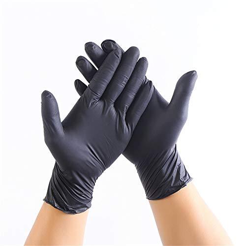 YUNSW Einweghandschuhe aus Schwarzem Nitrilkautschuk Tätowierungsmaniküre Autoreparatur Nitril Arbeitsschutzhandschuhe 100 PCS