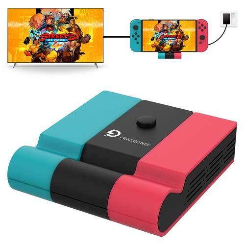 Dock station Pradeonee Switch para Nintendo Switch, dock de carregamento de 45W, substituição compatível com docking station oficial, dock para TV portátil com portas HDMI 4k e USB3.0