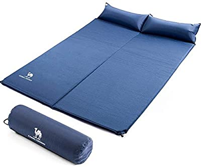 CAMEL CROWN Sleeping-Pad Foam Self-Inflating Camping-Mat for Backpacking Sleeping Pad Double Sleeping Mat Camping Pad 2 Person Camping Mattress with Pillow