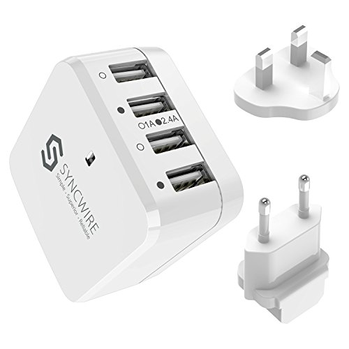 Syncwire 34W 4-Port USB Wall Charger, Multi-Port [Foldable US Plug] Travel Power Adapter with...