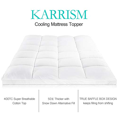 KARRISM Extra Thick Mattress Topper(Twin), Cooling Mattress Pad Cover Topper, 400TC Cotton Pillow Top (8-21Inch Deep Pocket)