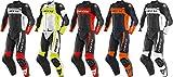 Dainese Mistel - Traje de piel para motocicleta, 2 piezas, color negro y rojo, talla 46
