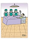 NobleWorks - Jumbo Funny Get Well Greeting Card (8.5 x 11 Inch) - Humor Cartoons, Feel Better Soon Card - Surgery Selfie J4012GWG