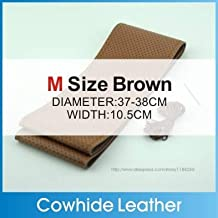 leather steering - High Quality Genuine Cowhide Leather Steering Car Wheel Cover Racing Steering Wheel 5 Color SIZE S/M/L Perforated breathable (Brown M)