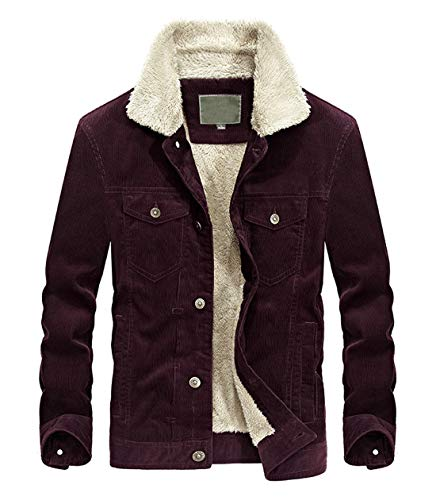 Mens Vintage Button-Front Sherpa Lined Shearling Slim Fit Corduroy Wine Red Denim Jacket