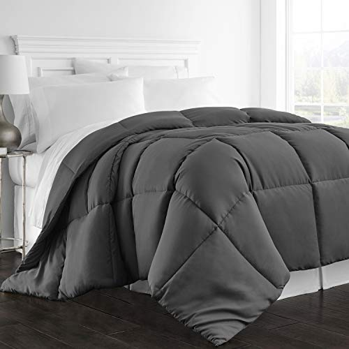 Beckham Hotel Collection 1300 Series - All Season - Luxury Goose Down Alternative Comforter - Hypoallergenic - Queen/Full - Gray