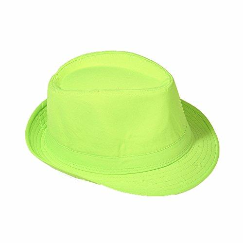 Strohhut Panama Fedora Trilby Gangster Hut Sonnenhut mit Stoffband Farbe:-Grün Gr:-58