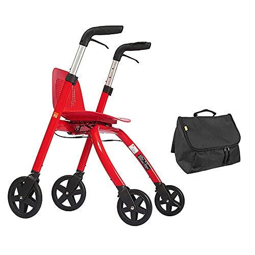 JW-YZWJ Folding Uptright Walker, 3 Ruedas Rolling Mobility Ayuda para Caminar con el Respaldo y la Bolsa de Almacenamiento, Ayuda de Movilidad para Ancianos, Discapacitados, Mujer Embarazada,R