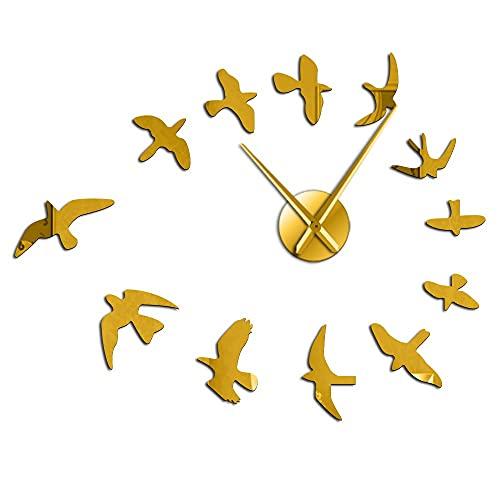 Decorative Mirror Wall Clock Flying Birds Wall Clock Modern Design Luxury Frameless DIY Large Clock Wall Watch Nature Room Decor