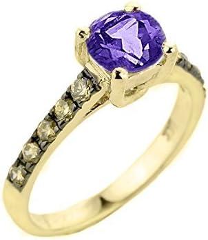 14k Yellow Gold Champagne Diamond Band Amethyst Wedding Engagement Ring