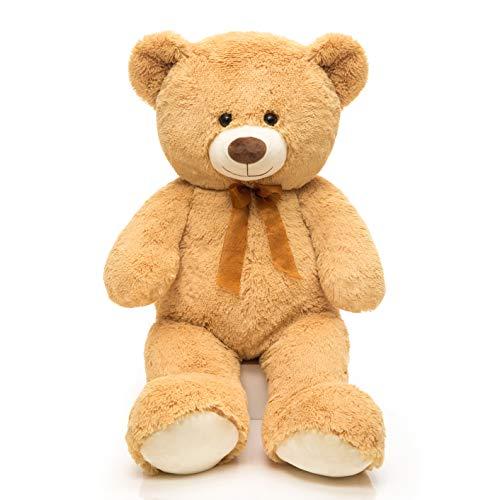 DOLDOA Giant Teddy Bear Soft Stuffed Animals Plush Big Bear Toy for Kids,Girlfriend 35.4 inch (Tan)