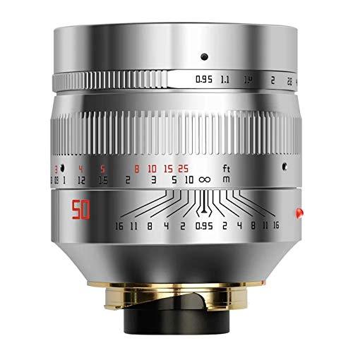 TTArtisan 50 mm F0.95 lente de cámara Full Fame Lente de enfoque manual compatible con Leica M Monte Cámara Leica M-M M240 M3 M6 M7 M8 M9 M9p M10 (versión plateada)