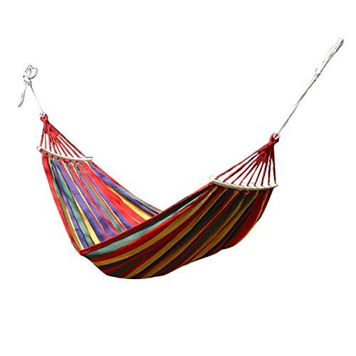 Tree-on-Life Hamaca portátil Doble para Acampar Paracaídas Tela de Nailon Columpio para Dormir Hamaca para Exteriores Mochilero Viajes Playa Sin Palo Una Sola Raya roja 280 * 80